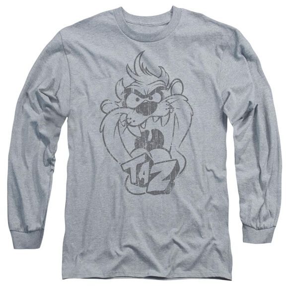 Looney Tunes Faded Taz Long Sleeve Adult Athletic T-Shirt