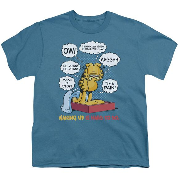 Garfield Waking Up Is Hard To Do Short Sleeve Youth T-Shirt