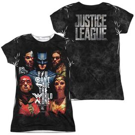 Justice League Movie Save The World Poster (Front Back Print) Short Sleeve Junior Poly Crew T-Shirt
