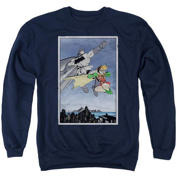 Batman Dkr Duo - Adult Crewneck Sweatshirt - Navy