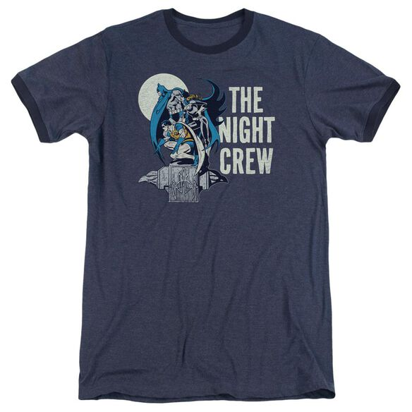 Dc Night Crew Adult Heather Ringer Navy