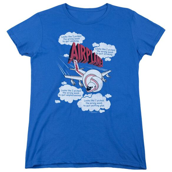 Airplane Picked The Wrong Day Short Sleeve Womens Tee Royal T-Shirt