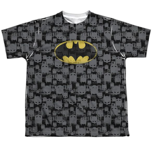 Batman Caped Crusader Repeat Short Sleeve Youth Poly Crew T-Shirt