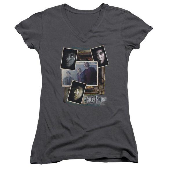 Harry Potter Trio Collage Junior V Neck T-Shirt
