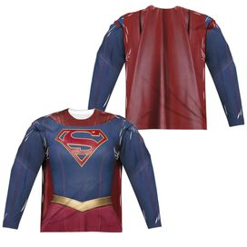 Supergirl Supergirl Uniform (Front Back Print) Long Sleeve Adult Poly Crew T-Shirt