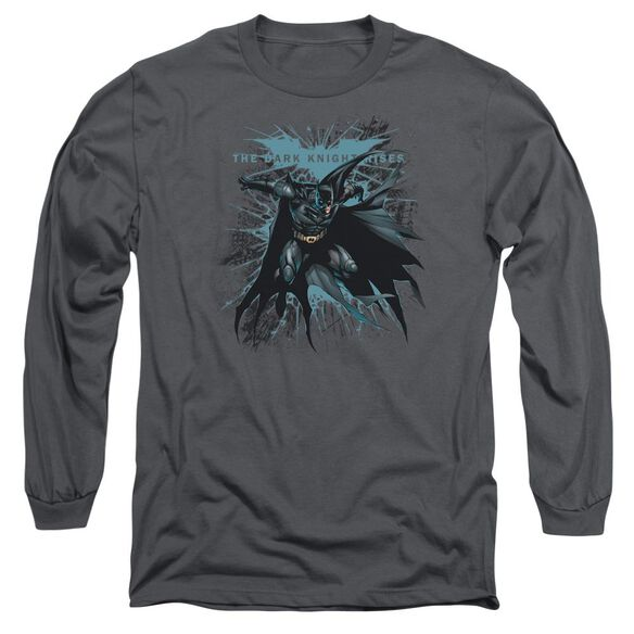 Dark Knight Rises Blue Crackle Long Sleeve Adult T-Shirt