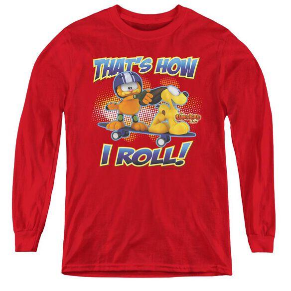 Garfield How I Roll - Youth Long Sleeve Tee - Red
