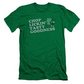 Puss N Boots Chop Lickin Tasty Goodness Short Sleeve Adult Kelly T-Shirt