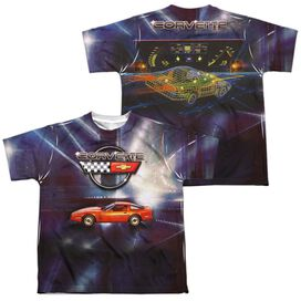 Chevrolet Lines Of Light (Front Back Print) Short Sleeve Youth Poly Crew T-Shirt