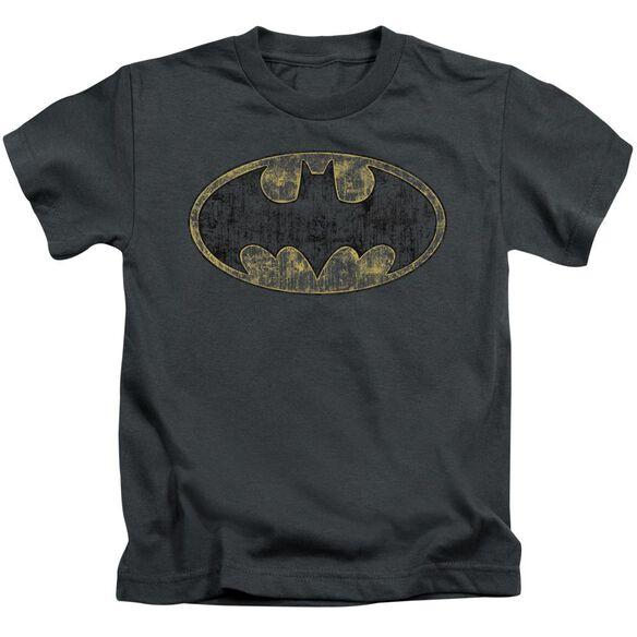 Batman Tattered Logo Short Sleeve Juvenile Charcoal T-Shirt
