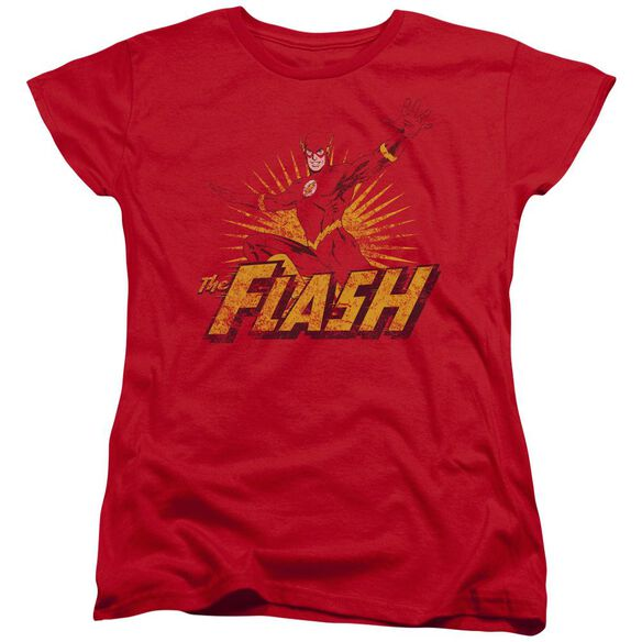 Jla Flash Rough Distress Short Sleeve Womens Tee T-Shirt