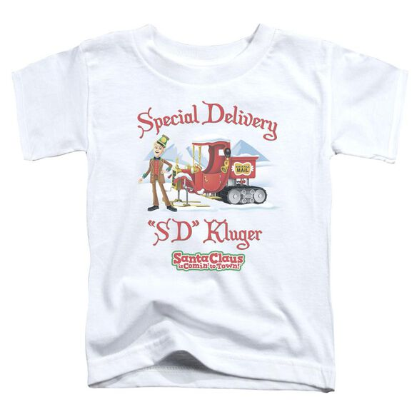 Santa Claus Is Comin To Town Kluger Short Sleeve Toddler Tee White T-Shirt