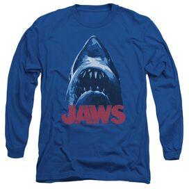 Jaws From Below Long Sleeve Adult Royal T-Shirt