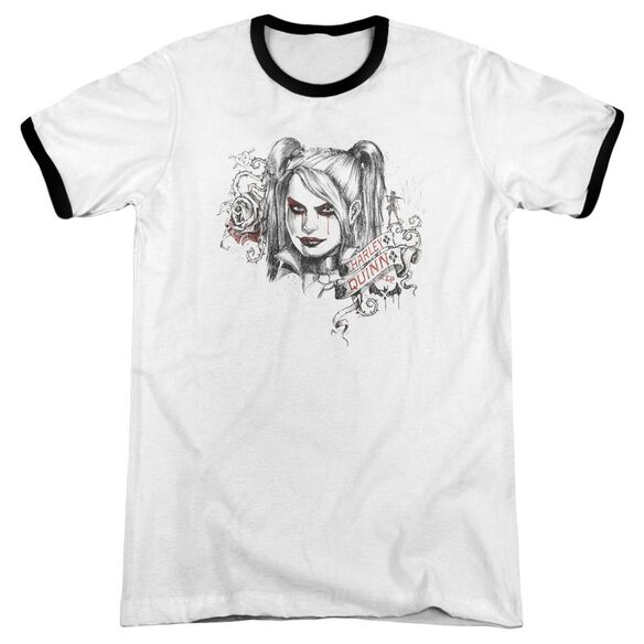 Batman Arkham Knight Sketchy Girl Adult Ringer White Black