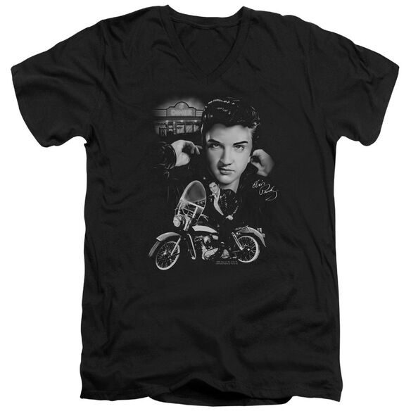 Elvis The King Rides Again Short Sleeve Adult V Neck T-Shirt