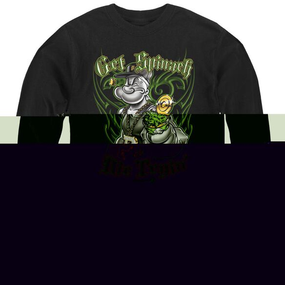 Popeye Get Spinach - Youth Long Sleeve Tee - Black