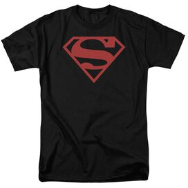 Superman Red On Shield Short Sleeve Adult T-Shirt