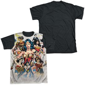 Wonder Woman 75 Th Collage Short Sleeve Adult Front Black Back T-Shirt