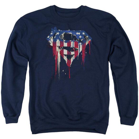 Superman Bleeding Shield Adult Crewneck Sweatshirt