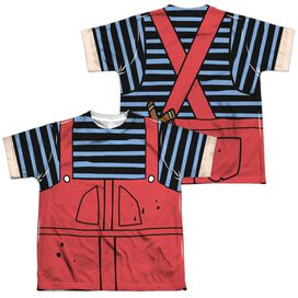Dennis The Menace Dennis Costume (Front Back Print) Short Sleeve Youth Poly Crew T-Shirt