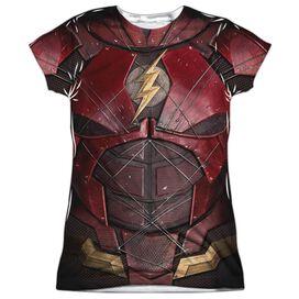 Justice League Movie Flash Uniform Short Sleeve Junior Poly Crew T-Shirt