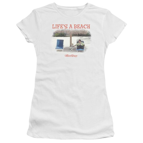 Office Space Lifes A Beach Premium Bella Junior Sheer Jersey