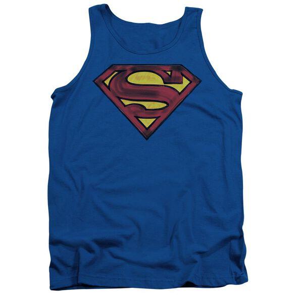 Superman Charcoal Shield - Adult Tank - Royal Blue