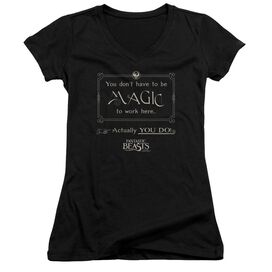 Fantastic Beasts Magic To Work Here Junior V Neck T-Shirt
