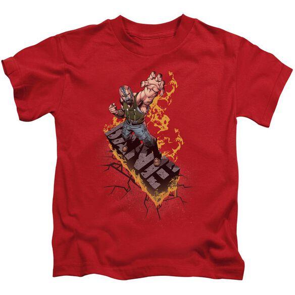 Dark Knight Rises Bane On Fire Short Sleeve Juvenile Red Md T-Shirt