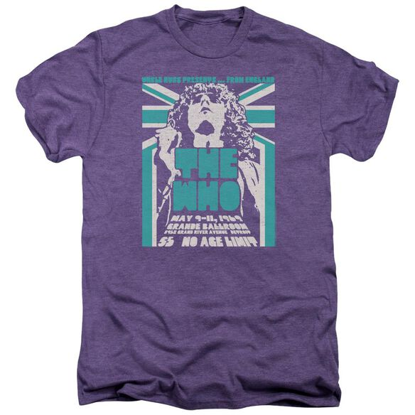 The Who Grande Ballroom 69 Short Sleeve Adult Premium Tee Deep Purple T-Shirt