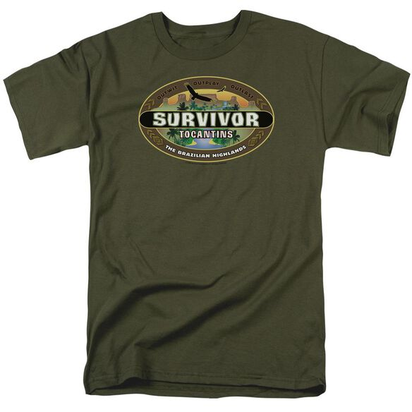 Survivor Tocantins Logo Short Sleeve Adult Military Green T-Shirt