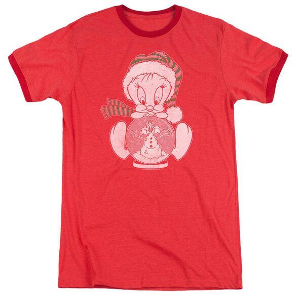 Looney Tunes Tweey Globe Adult Ringer Red