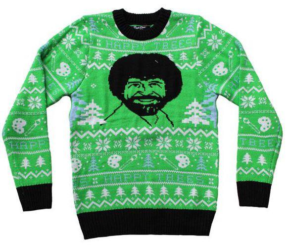 Bob Ross Happy Trees Ugly Christmas Sweater Fye