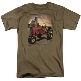 Tractor In Front Of Barn Short Sleeve Adult Safari Green T-Shirt