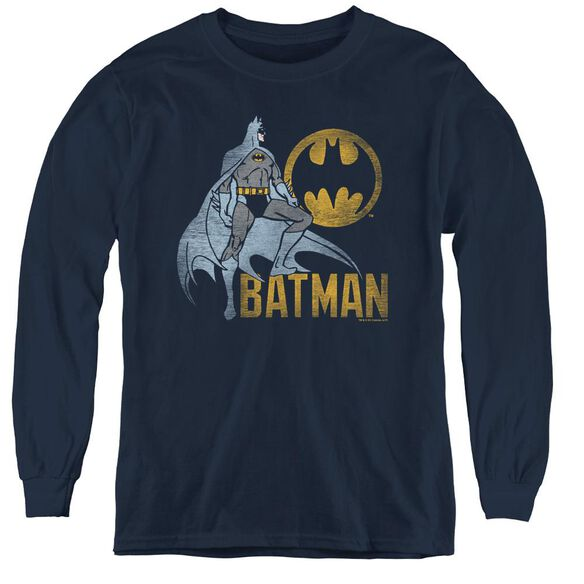 Batman Knight Watch - Youth Long Sleeve Tee - Navy