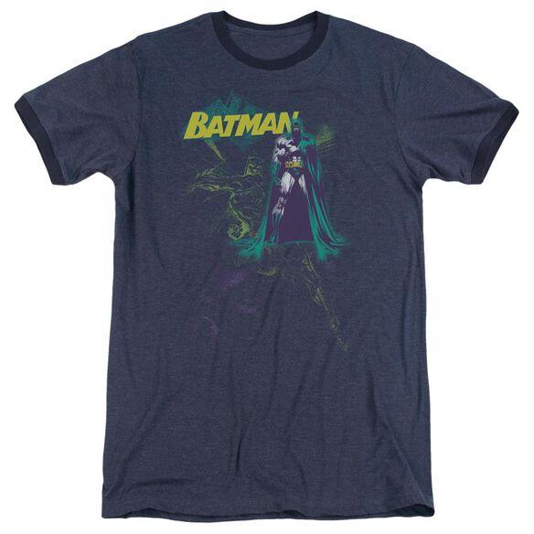 Batman Bat Spray Adult Heather Ringer Navy