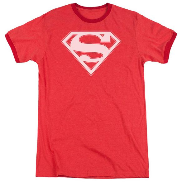 Superman Red & White Shield Adult Heather Ringer Red