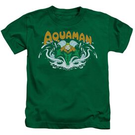 Dc Aquaman Splash Short Sleeve Juvenile Kelly Green T-Shirt