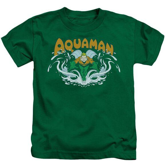Dc Aquaman Splash Short Sleeve Juvenile Kelly Green T-Shirt