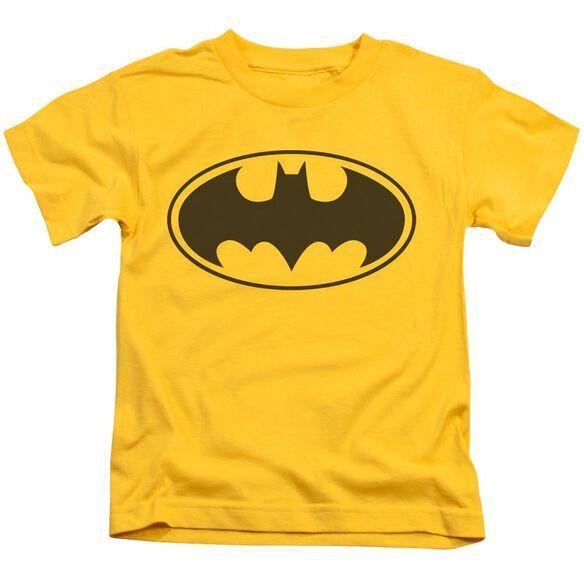 Batman Black Bat Short Sleeve Juvenile Yellow T-Shirt