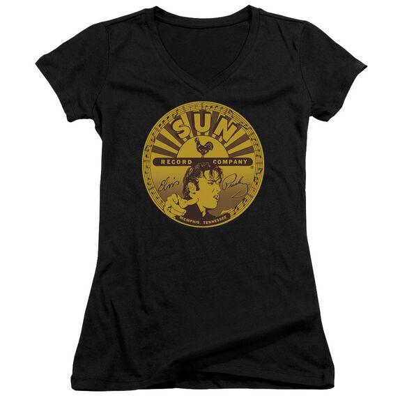 Sun Elvis Full Sun Label Junior V Neck T-Shirt