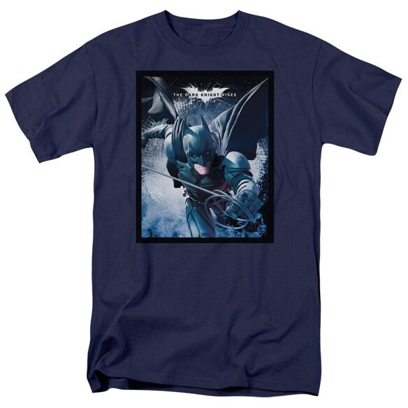 Dark Knight Rises Swing Into Action Short Sleeve Adult Navy T-Shirt