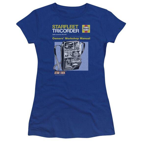 Star Trek Tricorder Manual Premium Bella Junior Sheer Jersey Royal