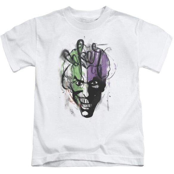 Batman Joker Airbrush Short Sleeve Juvenile White T-Shirt