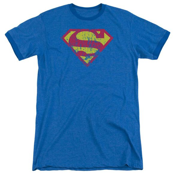 Superman Classic Logo Distressed - Adult Heather Ringer - Royal Blue