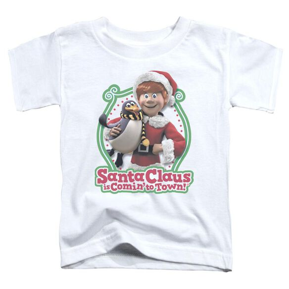 Santa Claus Is Comin To Town Penguin Short Sleeve Toddler Tee White T-Shirt