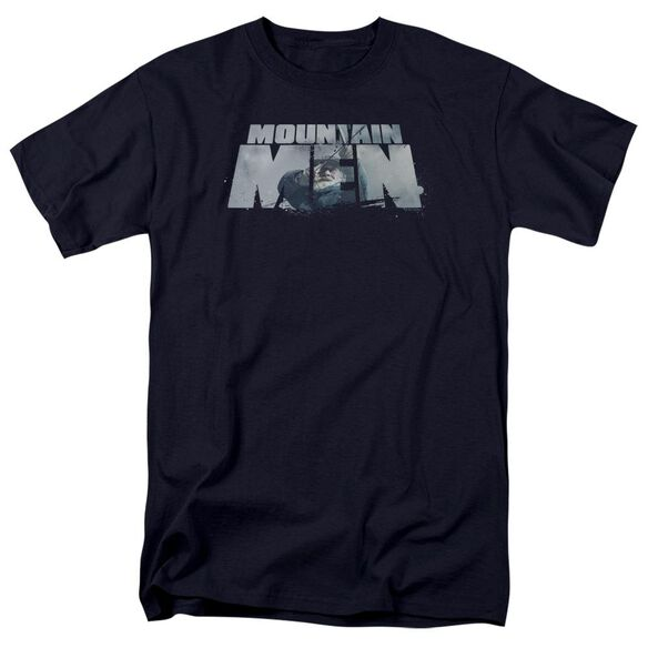 Mountain Men Live For A Living Short Sleeve Adult Navy T-Shirt