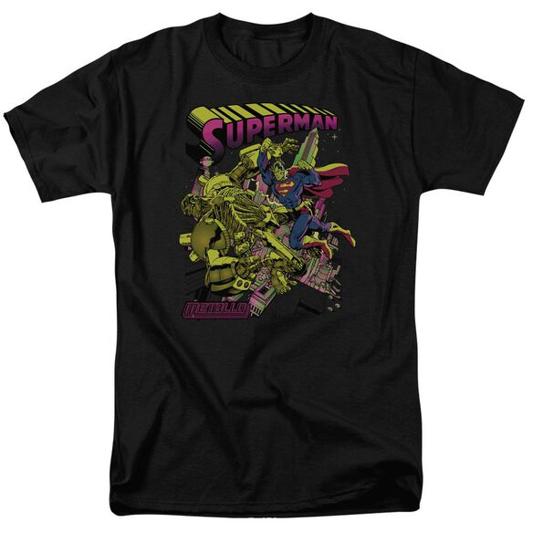 SUPERMAN VERSUS METALLO BLACKLIGHT - S/S ADULT 18/1 - BLACK T-Shirt