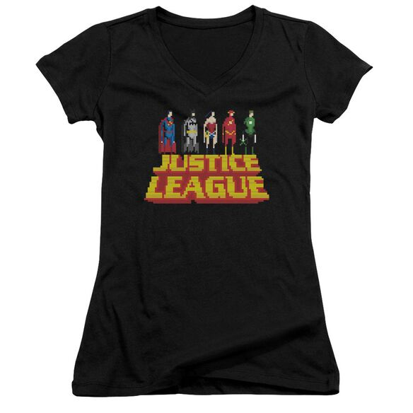 Jla Standing Above Junior V Neck T-Shirt