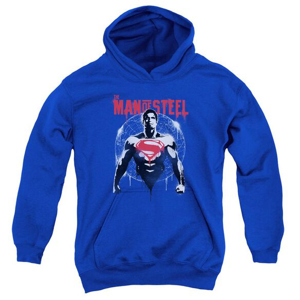 Batman V Superman Super Spray Youth Pull Over Hoodie Royal